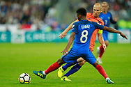 France's midfielder Thomas Lemar challenges Netherlands' forward Arjen Robben during the FIFA World Cup Russia 2018, Qualifying Group A football match between France and Netherlands on August 31, 2017 at the Stade de France in Saint-Denis, north of Paris, France - Photo Benjamin Cremel / ProSportsImages / DPPI