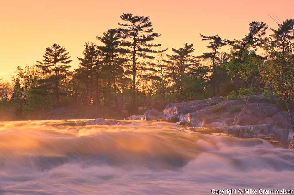 The flow of water narrows between Lovesick Lake and Lower Buckhorn Lake on the west and Stoney Lake to the east creating Burleigh Falls. Kawartha Lakes. <br />Burleigh Falls<br />Ontario<br />Canada