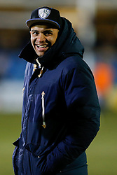 England and Bath centre Jonathan Joseph smiles after the match in between Six Nations fixtures - Photo mandatory by-line: Rogan Thomson/JMP - 07966 386802 - 06/03/2015 - SPORT - RUGBY UNION - Bath, England - The Recreation Ground - Bath Rugby v Sale Sharks - Aviva Premiership.
