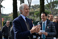 March 12, 2018 - Rome, Italy - The president of the Italian Olympic Committee (CONI), Giovanni Malago arrives for the ceremony Walk of Fame in Rome, Italy, on 12 March 2018. The Walk of Fame is enriched with 5 more samples. Along the Via Olimpiadi, which leads straight to the Olympic stadium in Rome, new plates have been added dedicated to five blue champions no longer in business: the historic Milan captain and national defender, soccer player Paolo Maldini, the swimmer Massimiliano Rosolino, the middle distance runner Luigi Beccali, the cyclist Ercole Baldini and the volleyball player Samuele Papi. (Credit Image: © Silvia Lore/NurPhoto via ZUMA Press)