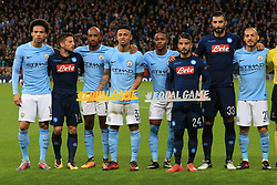 17th October 2017 - UEFA Champions League - Group F - Manchester City v Napoli - Surrounded by teammates, Gabriel Jesus of Man City and Lorenzo Insigne of Napoli hold hashtags reading #EqualGame before the match - Photo: Simon Stacpoole / Offside.
