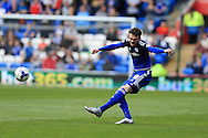 Scott Malone of Cardiff city in action.Skybet football league championship match, Cardiff city v Bolton Wanderers at the Cardiff city Stadium in Cardiff, South Wales on Saturday 23rd April 2016.<br /> pic by Andrew Orchard, Andrew Orchard sports photography.