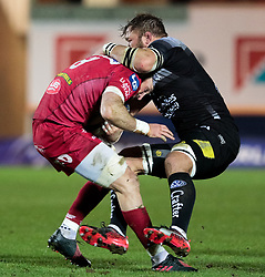 Scarlets' John Barclay is tackled by Toulon's Duane Vermeulen<br /> <br /> Photographer Simon King/Replay Images<br /> <br /> European Rugby Champions Cup Round 6 - Scarlets v Toulon - Saturday 20th January 2018 - Parc Y Scarlets - Llanelli<br /> <br /> World Copyright © Replay Images . All rights reserved. info@replayimages.co.uk - http://replayimages.co.uk