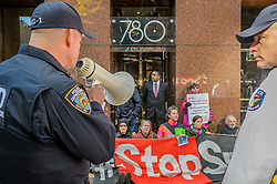 October 26, 2016 - New York, New York, United States - New Yorkers rallied to demand action from Senator Charles Schumer to stop the construction of a high pressure, fracked-gas pipeline that poses a major threat to more than 20 million people. Two hundred and fifty people gathered outside Senator Schumer'Äôs offices in Manhattan and heard from health professionals, indigenous leaders and residents of the Hudson Valley where the pipeline is being built. Fifteen people were arrested after refusing to leave unless Senator Schumer took action in an act of non-violent civil disobedience. (Credit Image: © Erik Mcgregor/Pacific Press via ZUMA Wire)