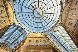 THEMENBILD - Die Lombardei ist eine norditalienische Region mit einer Fläche von 23.863 km und ca.9,8 Mio. Einwohnern. Sie ist in zwölf Provinzen aufgeteilt und liegt zwischen Lago Maggiore, Po und Gardasee. Bilder aufgenommen am 21. August 2013, im Bild Glaskuppel dem Oktagon, Luxus-Einkaufspassage dachte Galerie Galleria Vittorio Emanuele II zur blauen Stunde // THEMES PICTURE - Lombardy is a northern Italian region with an area of 23,863 km and a population of 9,8 Mio. It is divided twelve provinces and is situated between Lake Maggiore, Lake Garda and Po. Pictured on 2013/08/21. EXPA Pictures © 2013, PhotoCredit: EXPA/ Eibner/ Michael Weber<br /> <br /> ***** ATTENTION - OUT OF GER *****