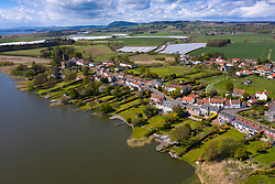 Aerial view of village of Kilconquhar in Fife, Scotland, UK