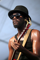 29 April 2012. New Orleans, Louisiana,  USA. <br /> New Orleans Jazz and Heritage Festival. <br /> Gary Clark Jr playing an incredible rock and roll Blues set.<br /> Photo; Charlie Varley/varleypix.com