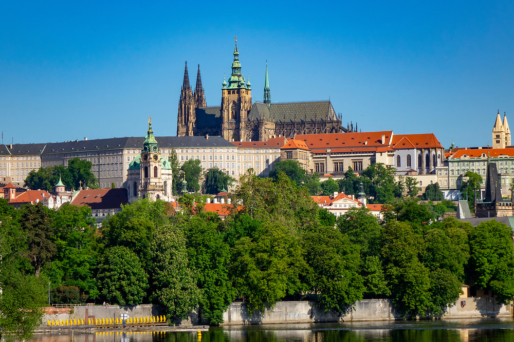 Distant view of St. Vitus's cathedral and Prague Castle as seen from across the Vltava River, Czech Republic
