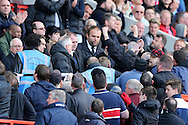 Security stopping fans protesting against Richard Murray, the Charlton Athletic Chairman. Skybet football league championship match, Charlton Athletic v Brighton & Hove Albion at The Valley  in London on Saturday 23rd April 2016.<br /> pic by John Patrick Fletcher, Andrew Orchard sports photography.