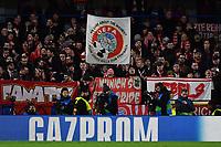 Football - 2019 / 2020 UEFA Champions League - Round of Sixteen, First Leg: Chelsea vs. Bayern Munich<br /> <br /> Bayern Munich fans displaying anti UEFA banners, at Stamford Bridge.<br /> <br /> COLORSPORT/ASHLEY WESTERN