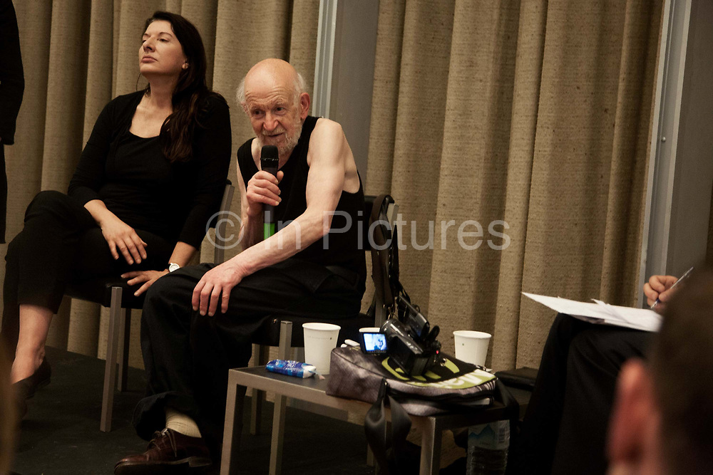 Gustav Metzger and Marina Abramovic in conversation with Hans Ulrich Obrist, July 2007, Manchester, United Kingdom. The talks followed the opening of Flailing Trees in Manchester, - a sculpture by Gustav Metzger. <br /> Flailing Trees is a piece of art where 21 willow trees has been up-rooted and put upside down into concrete, symbolising a world turned upside down by global warming.