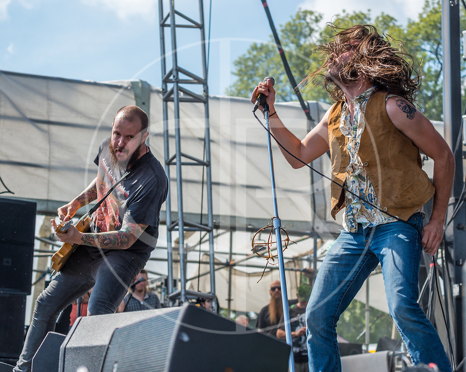 BALTIMORE United States - September 19, 2015: Chris Bishop and Brandon Yeagley of Crobot, perform at The Shindig, in Baltimore's historic Carroll Park