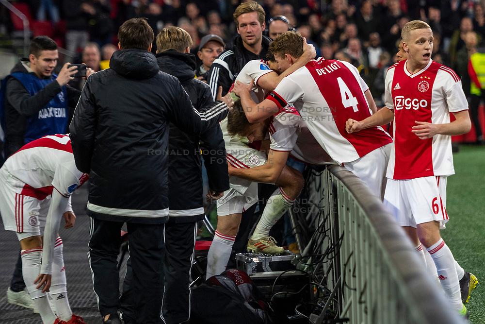 13-03-2019 NED: Ajax - PEC Zwolle, Amsterdam<br /> Ajax has booked an oppressive victory over PEC Zwolle without entertaining the public 2-1 / Noa Lang #37 of Ajax, Daley Blind #17 of Ajax, Matthijs de Ligt #4 of Ajax, Donny van de Beek #6 of Ajax