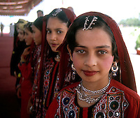 Girls in traditional dress in Islamabad, Pakistan. Photograph by Jayne Fincher