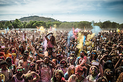 May 28, 2017 - Santa Coloma De Gramenet, Catalonia, Spain - Participants of the 'Holi Barcelona' festival throw colored powder in the air while dancing to the soundtracks of Bollywood and Bhangra following the  tradition of Hindu spring festival. (Credit Image: © Matthias Oesterle via ZUMA Wire)