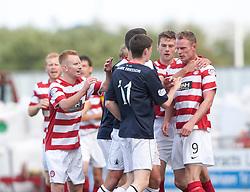 Hamilton's Jon McShane held badk from Falkirk's Conor McGrandles.<br /> Falkirk 1 v 2 Hamilton, Scottish Championship 31/8/2013.<br /> ©Michael Schofield.