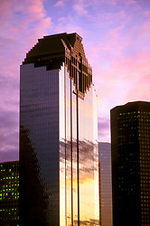 Stock photo of Heritage Plaza in Downtown Houston,Texas at Sunset