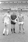 Referee PJ McGrath tosses the coin for Offaly captain Richie O'Connor and Kerry captain John Egan in  Kerry V Offaly five-in-a-row  in Croke park in 1982.<br /> Picture by Don MacMonagle