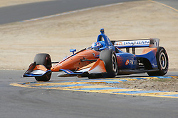 September 14, 2018 - Sonoma, CA, U.S. - SONOMA, CA - SEPTEMBER 14: Scott Dixon goes tight into the rumble strips during the Verizon IndyCar Series practice for the Grand Prix of Sonoma on September 14, 2018, at Sonoma Raceway in Sonoma, CA. (Photo by Larry Placido/Icon Sportswire) (Credit Image: © Larry Placido/Icon SMI via ZUMA Press)