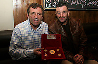 Photo: Paul Thomas.<br /> Photography of Norwegian Liverpool supporters at Anfield. 04/03/2007.<br /> <br /> Ex Liverpool players John Aldridge (R) and Alan Kennedy pose for a photo with some of Kennedy's winners medals.