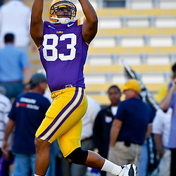October 16, 2010; Baton Rouge, LA, USA; LSU Tigers tight end Mitch Joseph (83) during warm ups prior to kickoff against the McNeese State Cowboys at Tiger Stadium. LSU defeated McNeese State 32-10. Mandatory Credit: Derick E. Hingle