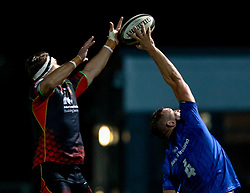 Lewis Evans of Dragons competes with Ross Molony of Leinster for the line out ball<br /> <br /> Photographer Simon King/Replay Images<br /> <br /> Guinness PRO14 Round 10 - Dragons v Leinster - Saturday 1st December 2018 - Rodney Parade - Newport<br /> <br /> World Copyright © Replay Images . All rights reserved. info@replayimages.co.uk - http://replayimages.co.uk