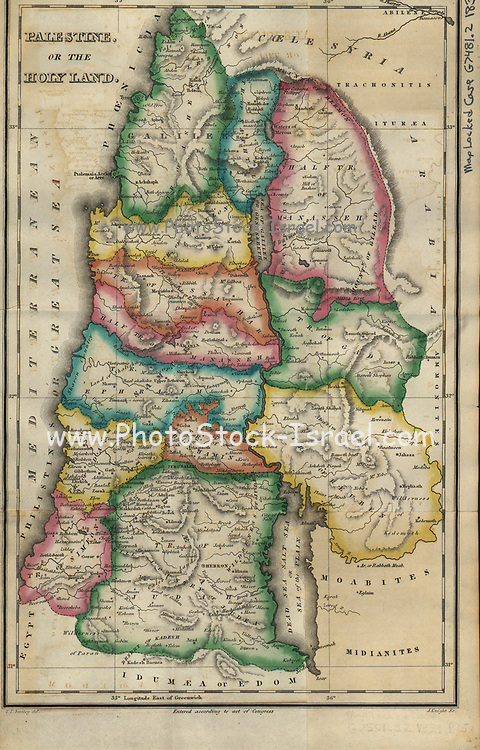 Biblical Map of Palestine or the Holy land from 1834 with the division of the Land among the Tribes of Israel