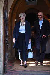 June 11, 2017 - London, London, United Kingdom - Image ©Licensed to i-Images Picture Agency. 11/06/2017. London, United Kingdom. Theresa May attends Church. The Prime Minister Theresa May attends church in her constituency. Picture by Andrew Parsons / i-Images (Credit Image: © Andrew Parsons/i-Images via ZUMA Press)
