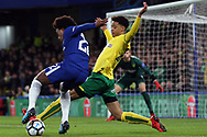 Willian of Chelsea (L) takes on Jamal Lewis of Norwich City (R). The Emirates FA Cup, 3rd round replay match, Chelsea v Norwich City at Stamford Bridge in London on Wednesday 17th January 2018.<br /> pic by Steffan Bowen, Andrew Orchard sports photography.