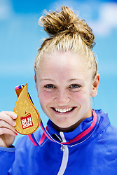 Sarah Barrow of Great Britain poses with her Gold medal after winning the Womens 10m Platform Final - Photo mandatory by-line: Rogan Thomson/JMP - 07966 386802 - 22/08/2014 - SPORT - DIVING - Berlin, Germany - SSE im Europa-Sportpark - 32nd LEN European Swimming Championships 2014 - Day 10.