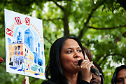 East End, London July 5th 2014. Rally and march against proposed cuts to National Health Service doctors' surgeries , specifically MPIG (Minimum Practice Income Guarantee payments) brought in to ensure practices in deprived areas had enough money to deliver high quality General Practice services. Rushanara Ali, Labour MP for Bethnal Green
