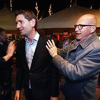 Nederland, amsterdam , 19 maart 2014.<br /> Jan Paternotte lijsttrekker D-66 na bekendmaking vd  Gemeenteraadsverkiezingen uitslagen arriveert bij café rijn op het rembrandtplein.<br /> Foto:Jean-Pierre Jans