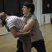 "Jacob Jason, right, Luis Grijalva, both of New York City, practice during a rehearsal for ""A Show Unlike Anything on Broadway!"" at Stepping Out Studios in Manhattan on May 2, 2007 in preparation for the 5 Boro Dance Challenge...The locally produced 5 Boro Dance Challenge, New York City's first same-sex dance competition, was held at the Park Central Hotel in Manhattan from May 4-6, 2007. ..The show was the entertainment presented in addition to the competition. .."