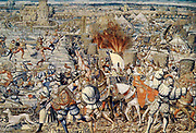 The Battle of Pavia, February 24, 1525, was the decisive engagement of the Italian War of 1521-25. A Spanish-Imperial army under the command of Charles de Lannoy attacked the French army under the personal command of Francis I of France. The French army was defeated. Francis himself, captured by the Spanish troops, was imprisoned by Charles V and forced to sign the humiliating Treaty of Madrid, surrendering significant territory to his captor.