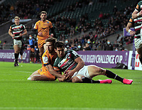 Rugby Union - 2020 / 2021 European Rugby Challenge Cup - Final - Leicester Tigers vs Montpellier - Twickenham<br /> <br /> Vincent Rattez of Montpellier goes over for his 1st half try as Matias Moroni of Leicester fails to get to the ball first<br /> <br /> Credit : Colorsport / Andrew Cowie