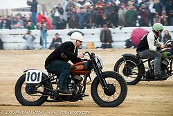 Steve Goushian on his 1945 Harley-Davidson WL Flathead at TROG West - The Race of Gentlemen. Pismo Beach, CA, USA. Saturday October 15, 2016. Photography ©2016 Michael Lichter.