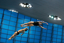 Grace Reid and Tom Daley of Great Britain compete on the way to winning a Gold Medal in the Mixed 3m Synchronised Springboard - Mandatory byline: Rogan Thomson/JMP - 11/05/2016 - DIVING - London Aquatics Centre - Stratford, London, England - LEN European Aquatics Championships 2016 Day 3.