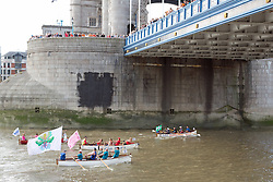 © Licensed to London News Pictures. 12/09/2015. Hundreds of traditional craft have taken to the Thames for the annual Great River Race. The 21 mile rowing race fom Millwall to Richmond is known as London's river marathon. Credit : Rob Powell/LNP