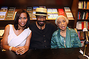 """l to r: Pamela Newkirk, Anthony Chisholm and Ruby Dee at the reading of ' Letters from Black America """" A Dramatic Reading with Editor Pamela Newkirk and actors Ruby Dee and Anthony Chisholm held at Barnes & Noble at 82nd Street on July 15, 2009 in New York City"""
