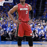 12 June 2012: Miami Heat shooting guard Dwyane Wade (3) rests during the Oklahoma City Thunder 105-94 victory over the Miami Heat, in Game 1 of the 2012 NBA Finals, at the Chesapeake Energy Arena, Oklahoma City, Oklahoma, USA.