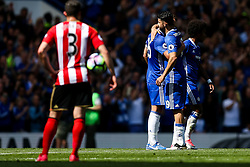 Diego Costa hugs Chelsea Captain John Terry who is substituted on the 26th minute of the game to mark his retirement after a long Chelsea career in the 26 shirt - Rogan Thomson/JMP - 21/05/2017 - FOOTBALL - Stamford Bridge - London, England - Chelsea v Sunderland - Premier League..