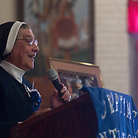 012415      Cayla Nimmo<br /> <br /> Mother Magda Garcia addresses the crowd at the annual Life Your Dream banquet held at the El Rancho in Gallup Saturday.
