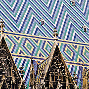 Tiled roof of Stephansdom Cathedral in Vienna, Austria