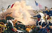 Mexican-American War 1846-1848: Battle of Buena Vista, 23 February 1847, also known as Battle of Angostura.  Mexicans under Santa Anna in green, defeated by Americans under General Zachary Taylor. Currier & Ives print, 1847.