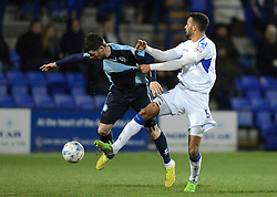 Wycombe Wanderers's Steven Craig tangles with Tranmere Rovers's Michael Ihiekwe - Photo mandatory by-line: Richard Martin-Roberts/JMP - Mobile: 07966 386802 - 03/03/2015 - SPORT - football - Tranmere - Prenton Park - Tranmere Rovers v Wycombe Wanderers - Sky Bet League Two