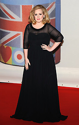 Adele arriving at The Brit Awards 2012, The O2 Arena, Greenwich, London.