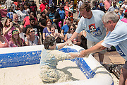 A young boy is helped out of a vat of grits during the World Grits Festival rolling in the grits contest April 12, 2014 in St. George, South Carolina. Contestants have to roll in a vat of grits and the one with the most grits sticking to their body wins. Grits are a tradition Southern dish of thick maize-based porridge made from dried corn hominy.