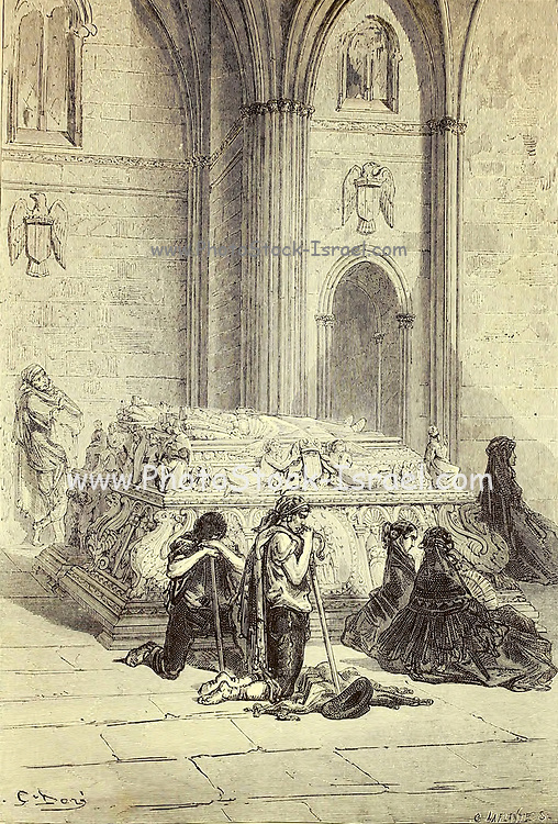 Tombeau de Ferdinand et d'Isabelle, Dans la Cathedrale de Grenade [Tomb of Ferdinand and Isabella, In the Cathedral of Granada] Page illustration from the book 'L'Espagne' [Spain] by Davillier, Jean Charles, barón, 1823-1883; Doré, Gustave, 1832-1883; Published in Paris, France by Libreria Hachette, in 1874