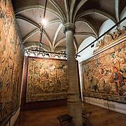 17th Century baroque tapestries on display at the Museum of the City of Brussels. The museum is dedicated to the history and folklore of the town of Brussels, its development from its beginnings to today, which it presents through paintings, sculptures, tapistries, engravings, photos and models.