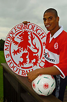 Fotball<br /> England 2004/2005<br /> Foto: SBI/Digitalsport<br /> NORWAY ONLY<br /> <br /> Photo. Jed Wee.<br /> Middlesbrough Press Conference, 06/07/2004.<br /> Middlesbrough's new signing Michael Reiziger.
